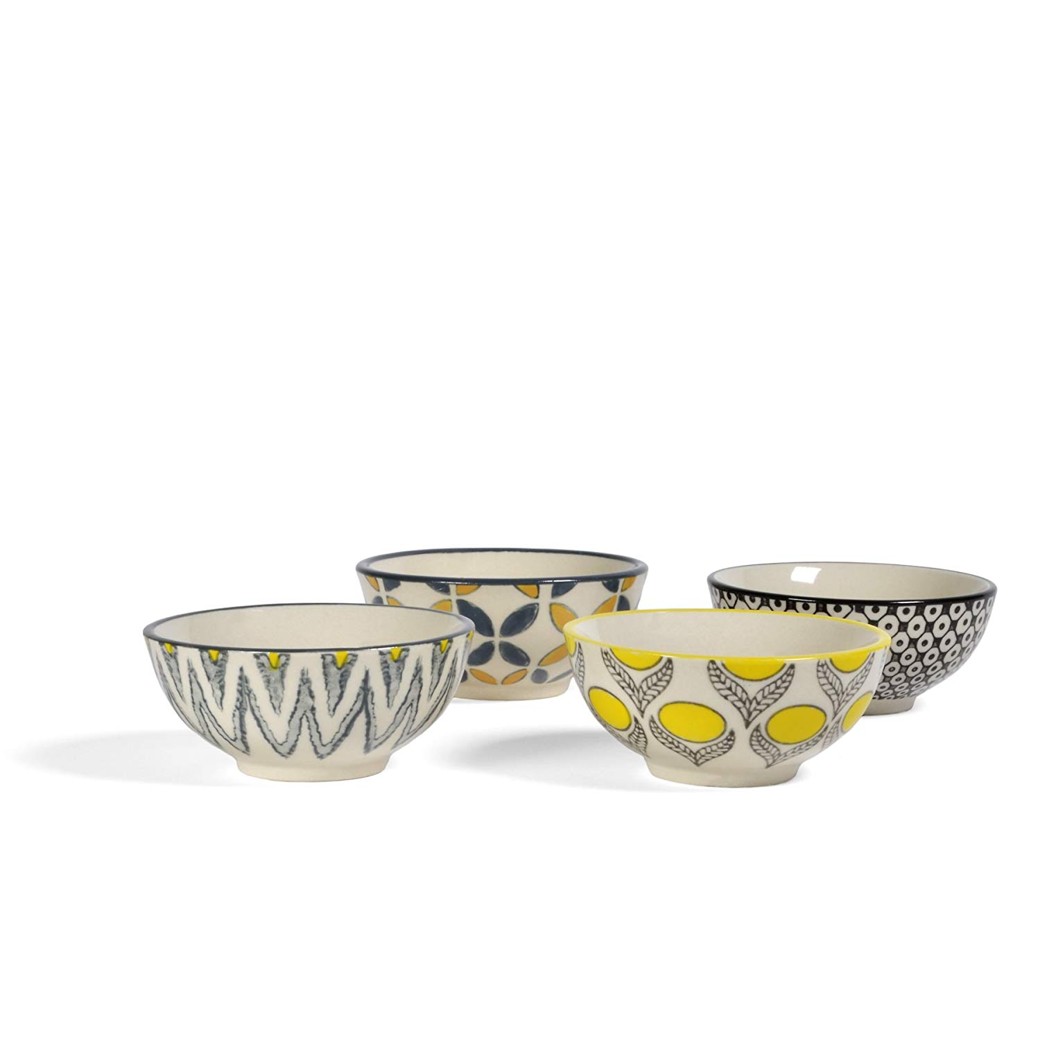 Creative Co-Op 3-inch Round Stoneware Bowls with Hand Stamped Designs, Set of 4