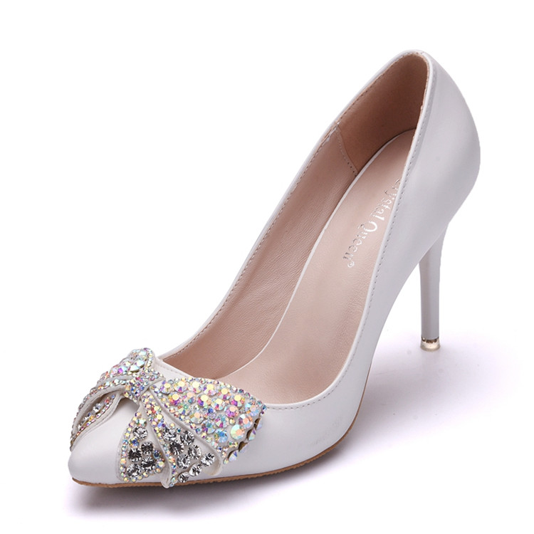 Women's White PU leather Pumps Office Wear High <strong>Heels</strong> with Colorful Rhinestone Bowknot
