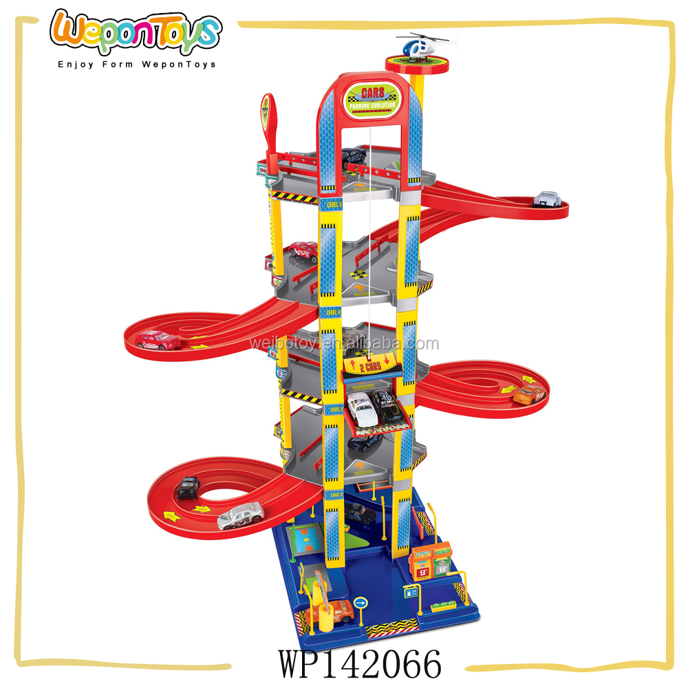 new arrival parking lot with 6pcs free wheel car plastic kids parking garage toy for sale