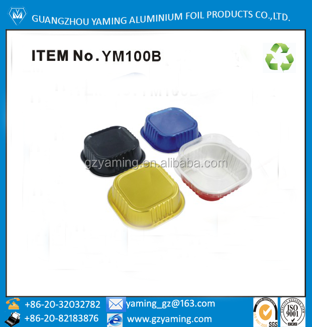 Foil containers 100ml square smoothwall aluminium foil pudding cup ice cream cup pet container ym100b