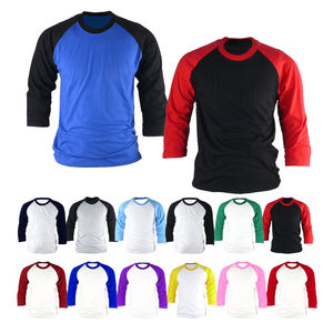 custom cheap plain raglan 3/4 long sleeve mens baseball t shirt