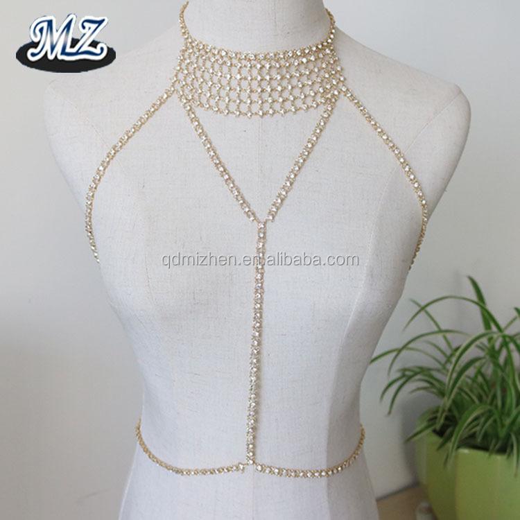 8a4ad5cf87 Sexy rhinestone bikini body jewelry crystal bra body chain jewelry necklace