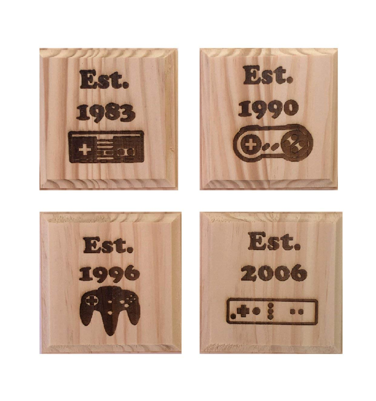 Gamer Controller Evolution Coasters - Engraved Gift Set of 4 Wood Drink Coasters (by Brindle Southern): Retro Console Gaming Controller, 8 Bit Classic, Gamer Gift Father's Day, Dads