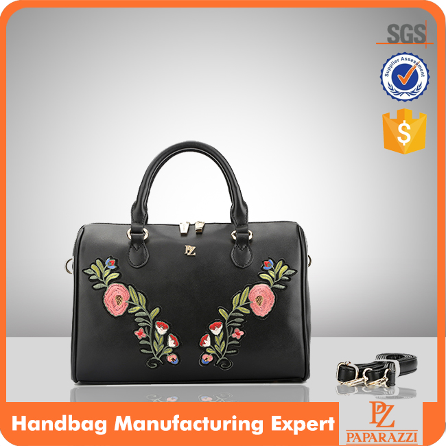 6546 Best selling Faux leather designer bowler embroidered flower handbag for woman bolsos femenino