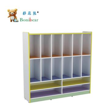 Nursery School Furniture Wooden Bag And Shoes Locker