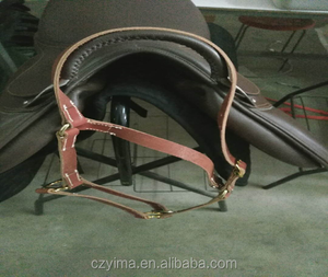 Soft padded cowhide bridle with reins/horse helter