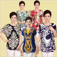 1.4USD Fllowers Fat Woman Big Size Garment Clothes/Clothes Women/T Shirt Woman (gdzw125)