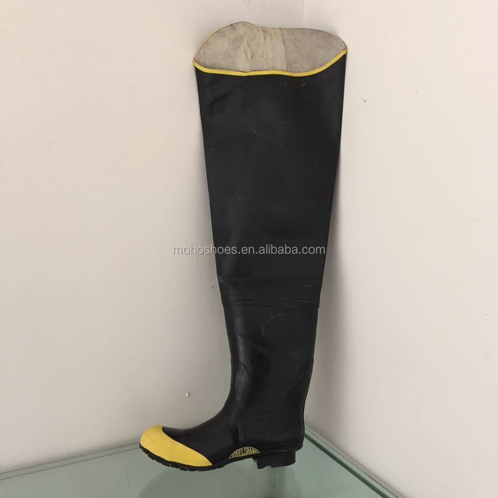 Black and yellow waterfroof fishing rubber hip boots for Fishing waders with boots