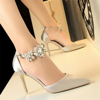 New high heel women's shoes stiletto high heel satin hollow shallow mouth pointed rhinestone word with sandals