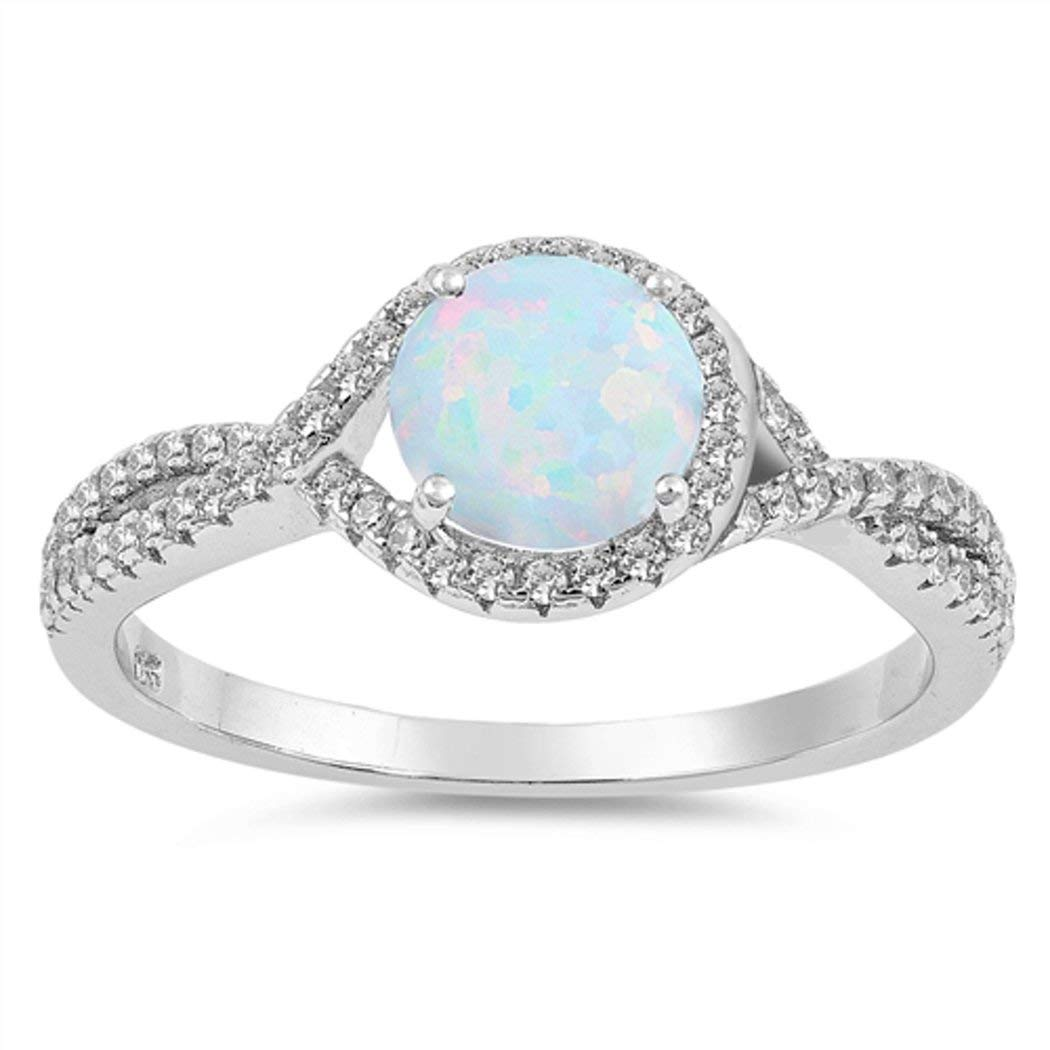 Sterling Silver CZ and White Lab Opal Infinity Promise Ring (Size 5 - 10)
