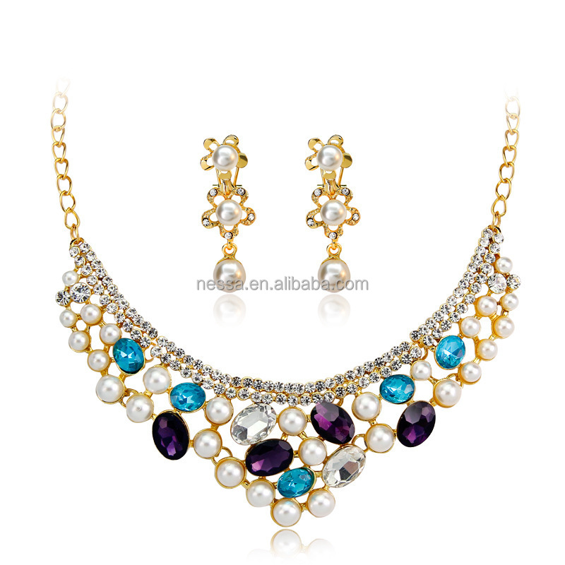 fashion wholesale heavy pearl necklace set NS-CA054
