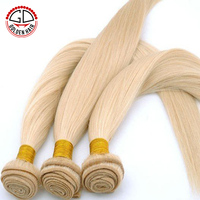 Cheap Blended Blonde Color Wave Human Brazilian Hair Weft