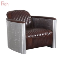 Industrial Style Foshan Factory Home Leather Couch Wooden Frame Aviator Furniture aluminum sofa aviator