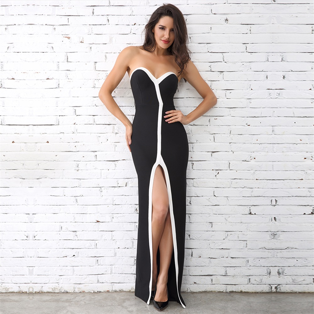 2018 factory new style black and white slits bandage dress for women party night club
