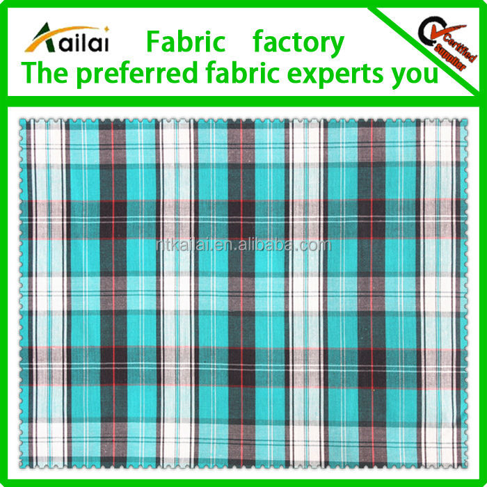 40*40 olive green white check fabric