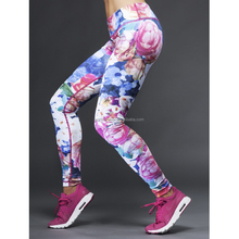 (Factory/low MOQ) Custom full sublimation flowes pattern ladies sport running leggings,yoga pants
