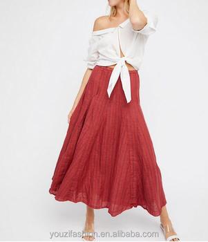 Maxi faldas El de con mujeres rayas chicas diseño largas de vacaciones patrón último falda Lino wIaqIpv