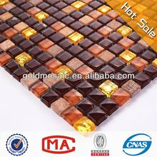 dark brown crystal gold glass and tawny stone wall decoration stone mosaic bathroom sink