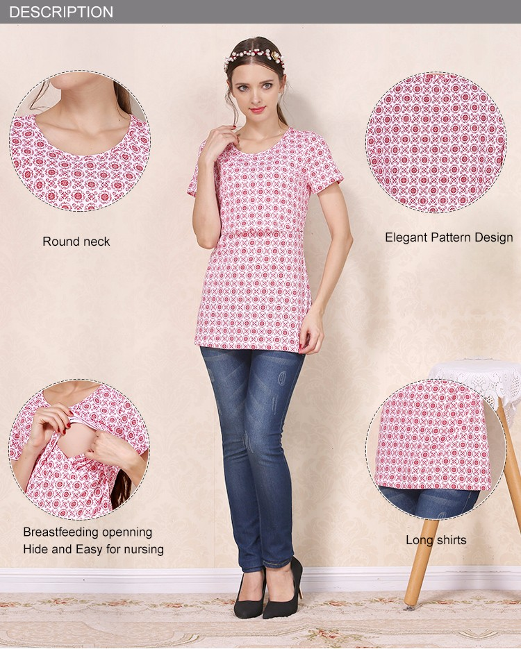 Scoop Neck Maternity Tops Hide Opening Breastfeeding Clothing Printing Nursing T-shirts