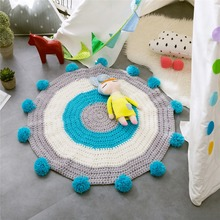 China Wholemale Kids Baby Infant Floor Play Mats Crawling Knit Crochet Rug Round Carpet