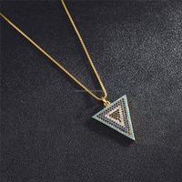 DZ0061 Newest silver Micro Pave Colorful CZ Stone Turkey Evil Eye triangle blue eye Pendant necklace