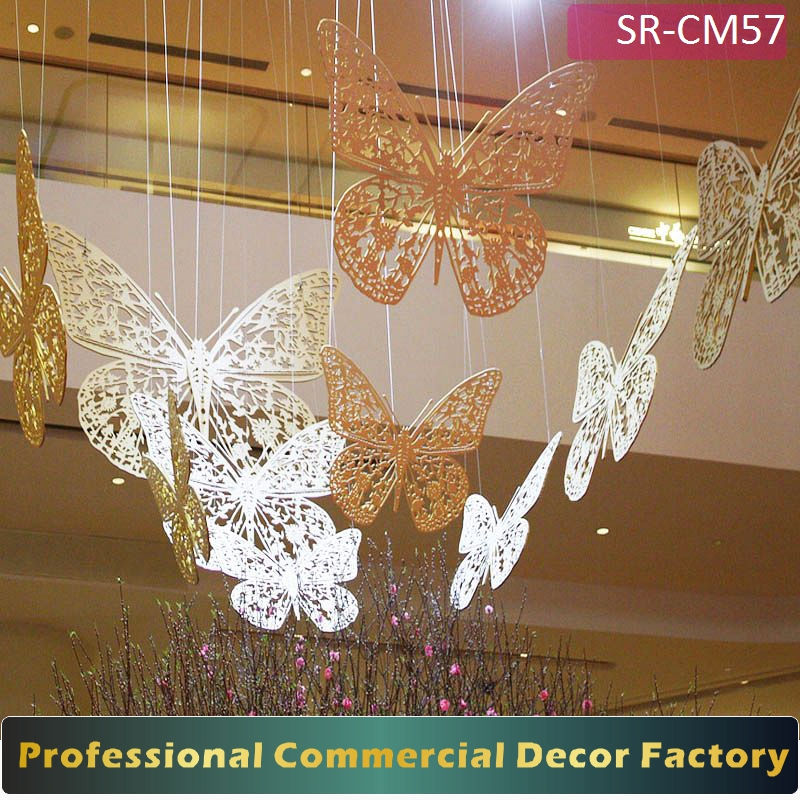 Customize commercial large hanging butterfly decoration for shopping mall hotel