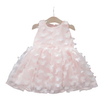 2019 3d embroidery flower girl dresses kids fairy design baby girls birthday dresses princess party wearing sleeveless