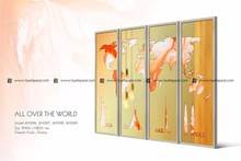 Modern home decoration wall art picture world map 4 panel group painting