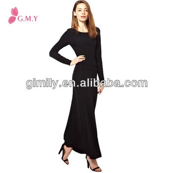 Mature Women Black Backless Long Maxi Dresses Full Sleeves Buy