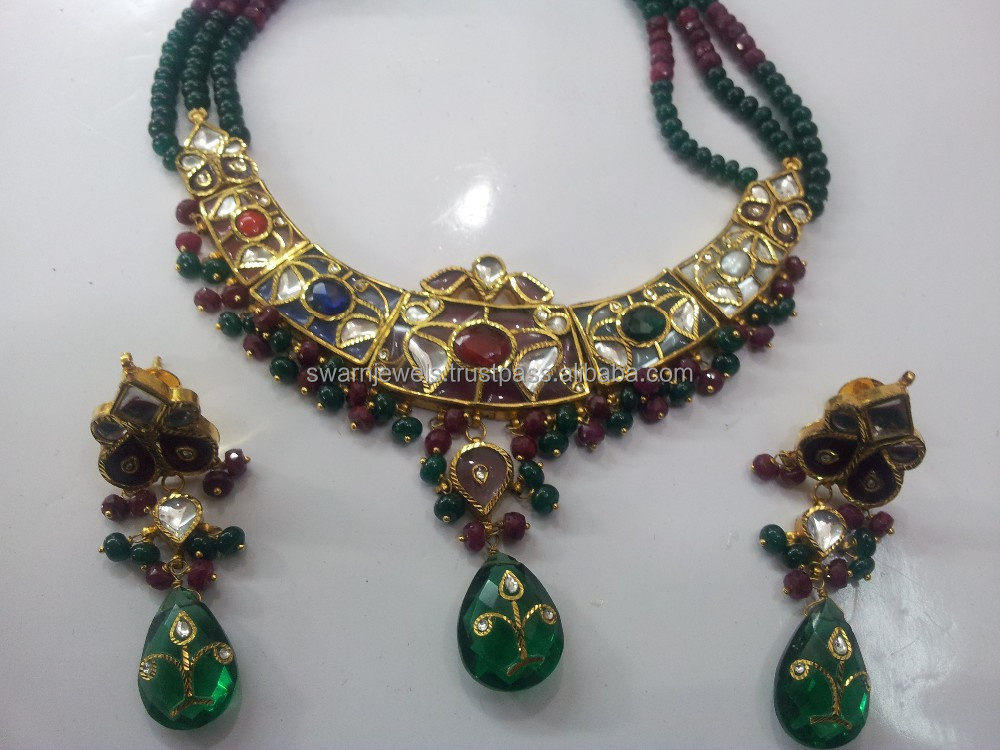 Traditional Vintage 22k Gold Navratan Kundan Necklace Set Buy