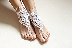 Ivory Crochet Barefoot Sandals Barefoot Beach Wedding Foot Jewelry Bare Foot Sandals Chain Beach Pool,Nude shoes,Foot jewelry Barefoot Sandles Shoes Yoga Shoes Wedding Accessory