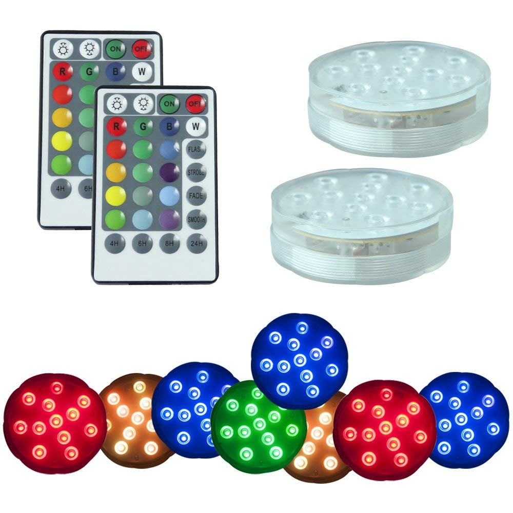 PX Home Underwater Submersible LED Lights, Waterproof Wireless Remote Controlled Battery Operated Multicolor 10 LEDs Reusable lights for Pond,Pool,Aquarium,Party, Wedding, Vase Base etc.- 2 Pack