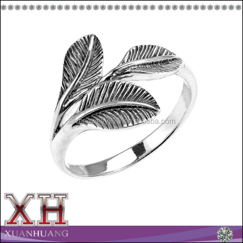 Made in China jóias Sterling Silver Three Leaf anel tailândia