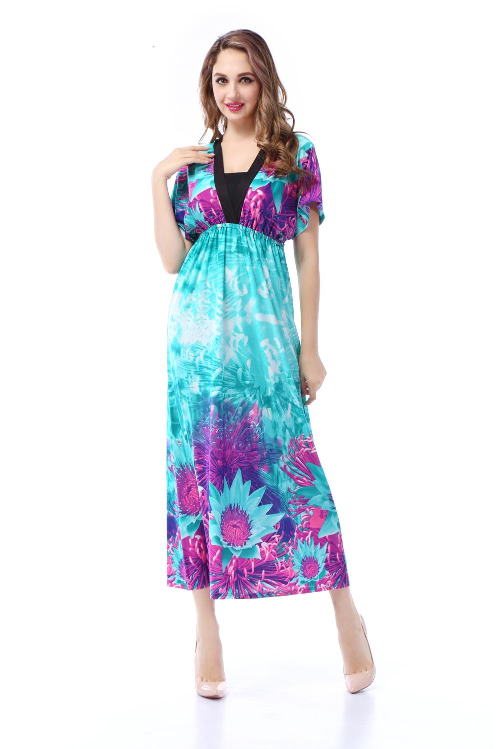 2016 Summer dress V Neck Plus Size Bohemian Long Maxi ...