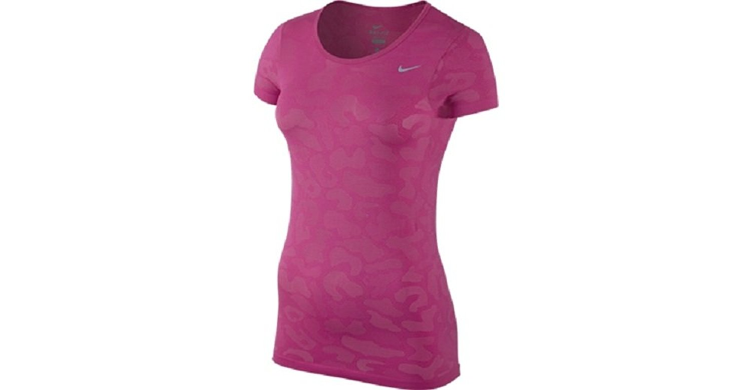 half off dbc30 4416c Get Quotations · Nike Womens Dri-Fit Knit S S Running Shirt Pink Large  685659-616