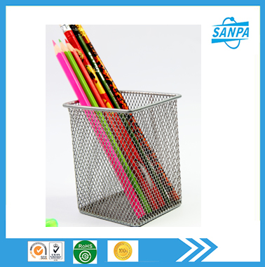 681009 square custom desk metal mesh pen holder wholesale