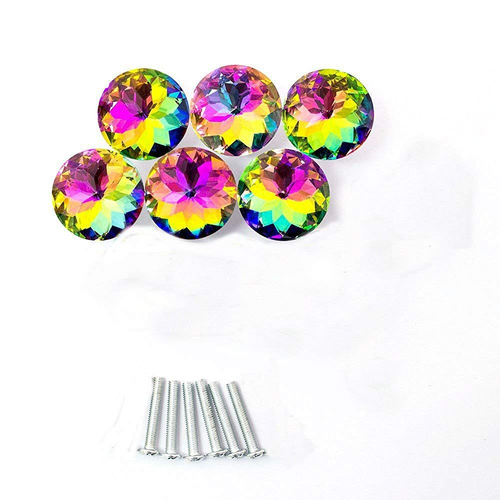AKOAK 6 Pcs 30mm Colorful Diamond Shape Crystal Glass Cabinet Knob Used for Cabinet, Drawer, Chest, Bin, Dresser, Cupboard, Etc