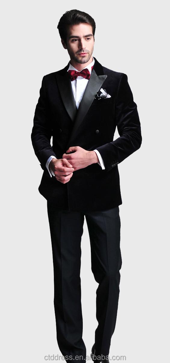 Matrimonio Abito Uomo Nero : Di velluto nero tailorde adatta matrimonio abiti uomo sposo