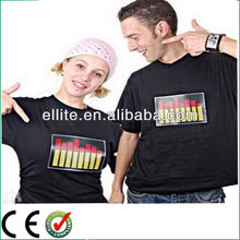 100% cotton sound active led light t shirt for promotion and festival party