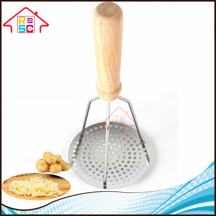 NBRSC Stainless Steel Potato Masher with Wooden Handle- Fine-grid Mashing Plate for Smooth Mashed Potatoes, Vegetable and Fruit