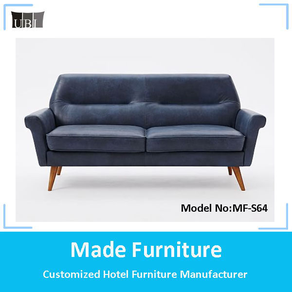Classic genuine leather/fabric reclining loveseat sofa MF-S64