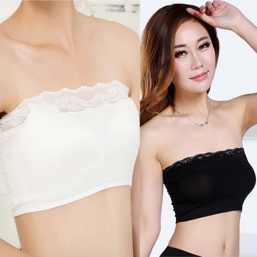 cd4414faf WOMENS GIRLS FASHIONABLE LACE CROP BOOB TUBE TOP BANDEAU BRA STRAPLESS  SEAMLESS