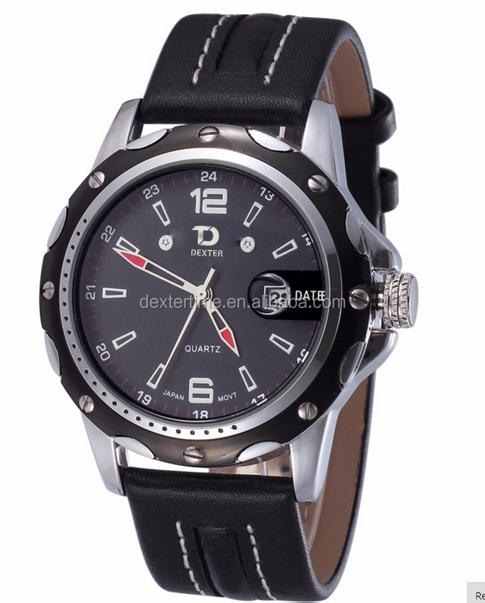 cheap PU leather military mens watches with date