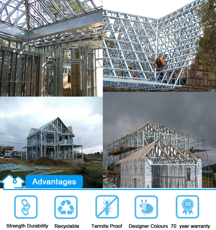 low cost light gauge steel framing prefabricated residential building houses made in china
