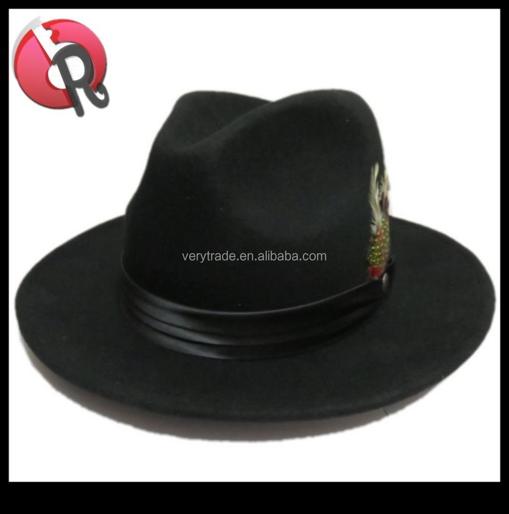 Mens Hat 100% Wool Wide Round Brim Fedora Cap Satin Feather Band Black c270a31ecee