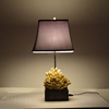 Poly Resin And Faux Coral Table Lamp With Grey Fabric Shade