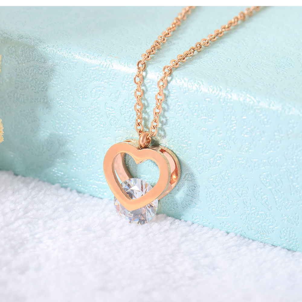 Beautiful Women Jewelry Rose Gold Charm Crystal Love Heart Necklace