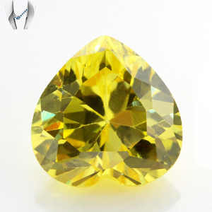 Wuzhou Heart Shape Golden Yellow CZ Stone