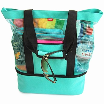 Large Capacity Picnic Mesh Tote Bag Insulated beach bag with cooler