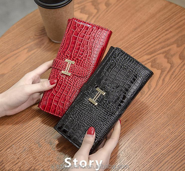 Boshiho ladies bags handbag leather Enamel Leather colorful woman wallet